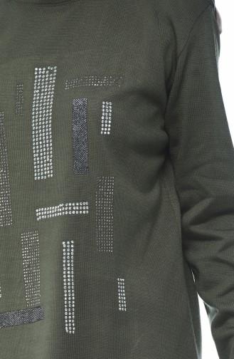 Strass Decorated Sweater Pants Double Set Khaki 2274-02