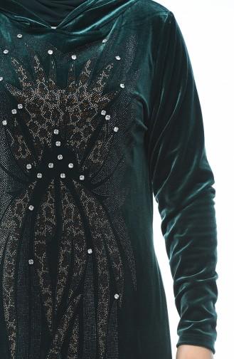 فستان مخمل مزين بالستراس مقاس كبير أخضر زمردي 1916-02