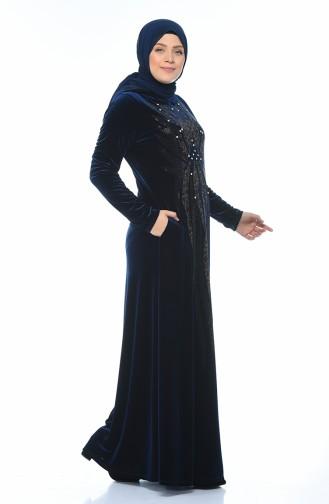 فستان مخمل مزين بالستراس مقاس كبير أزرق برلماني 1916-03
