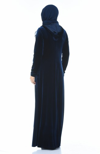 Büyük Beden Taş Baskılı Kadife Elbise 1916-03 Parlament 1916-03