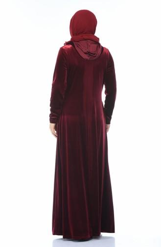 Büyük Beden Taş Baskılı Kadife Elbise 1916-04 Bordo 1916-04