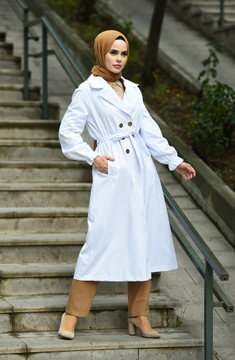 Gabardin Fabric Buttoned Trench Coat White 1260-01