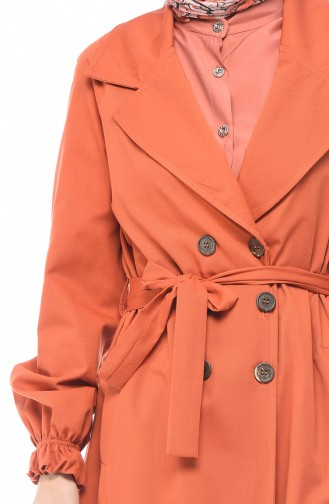 Gabardin Fabric Buttoned Trench Coat Brick 1260-04