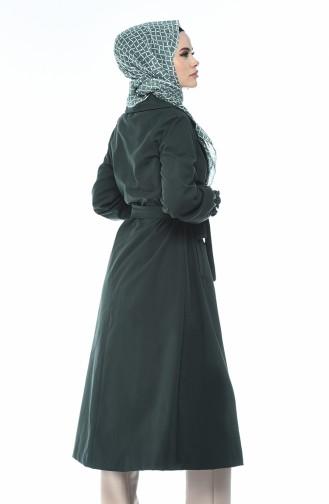 ترانشكوت قماشي بأزرار أخضر زمردي 1260-05