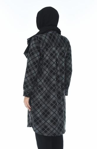 Büyük Beden Ekose Desenli Tunik 8006-01 Siyah 8006-01
