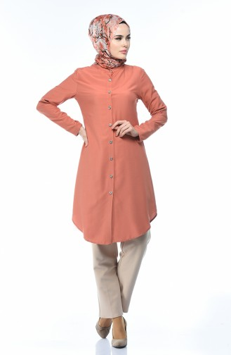 Buttoned Viscose Tunic Dark Salmon 3158-15