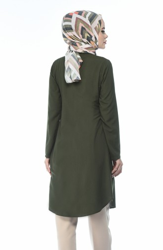 Buttoned Viscose Tunic Green 3158-16