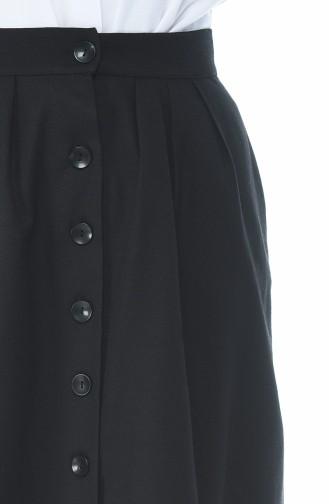 تنورة مطوية بأزرار أسود 5023-01