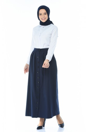 Buttoned Pleated Skirt Navy Blue 5023-02