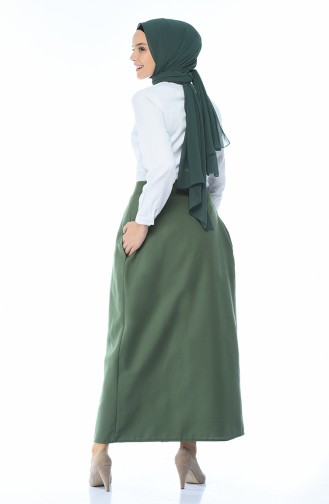 Buttoned Pleated Skirt Green 5023-03