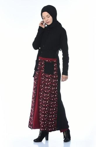 Tricot Leopard Patterned Cardigan Double Set Black 0609-02