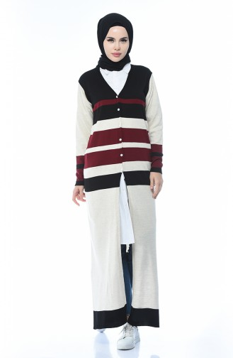 Tricot Buttoned Long Cardigan Black 2271-01