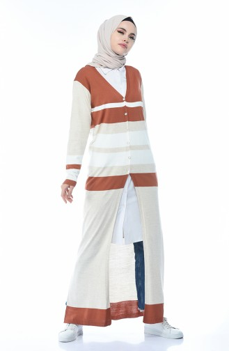 Tricot Buttoned Long Cardigan Brick 2271-03