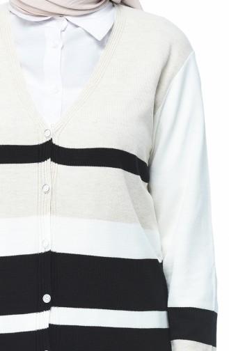 Tricot Buttoned Long Cardigan Ecru 2271-04