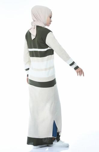 Tricot Buttoned Long Cardigan Khaki 2271-05