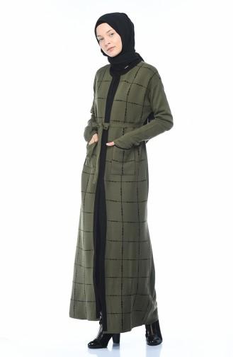Triko Kuşaklı Hırka Elbise İkili Takım 0607-01 Haki 0607-01