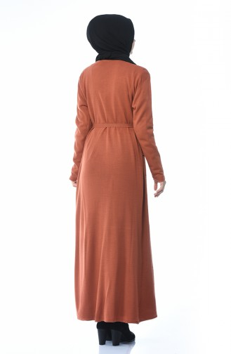 Triko Kuşaklı Hırka Elbise İkili Takım 0607-05 Kiremit 0607-05