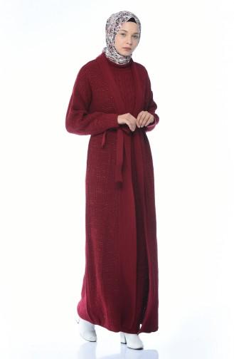 Triko Hırka Elbise İkili Takım 1051-02 Bordo 1051-02