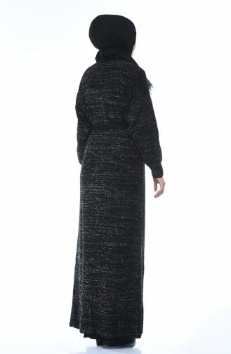 طقم تريكو فستان وكادريجان أسود 1051-03