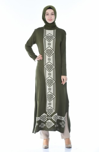 Slash Tricot Long Tunic Khaki 0700-04