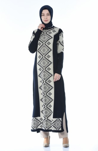 Triko Desenli Uzun Tunik 0701-04 Lacivert 0701-04