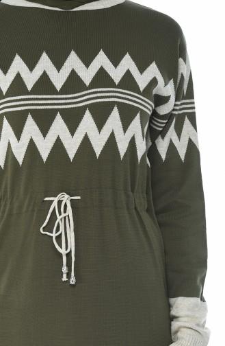 Tricot Waist Pleated Long Tunic Khaki 0702-02