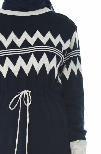 Tricot Waist Pleated Long Tunic Navy Blue 0702-03