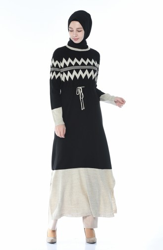 Tricot Waist Pleated Long Tunic Black 0702-04