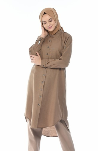 Reglan Kol Düğmeli Tunik 3166-08 Camel