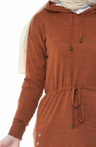 Tricot Thin Hooded Tunic Brown Tobacco 8006-07