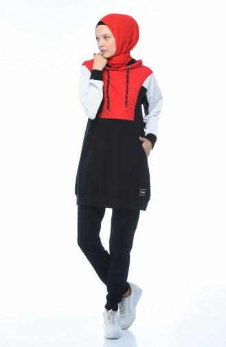 Kapüşonlu Eşofman Takım 3481-01 Siyah Kırmızı 3481-01