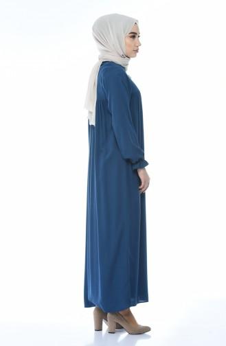 فستان مطوي بأزرار نيلي 8138-03