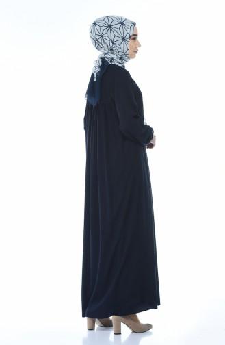 فستان مطوي بأزرار كحلي 8138-04
