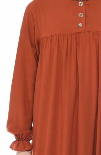 Buttoned Pleated Dress Brick 8138-05