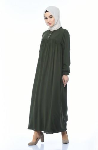 Buttoned Pleated Dress Khaki 8138-06