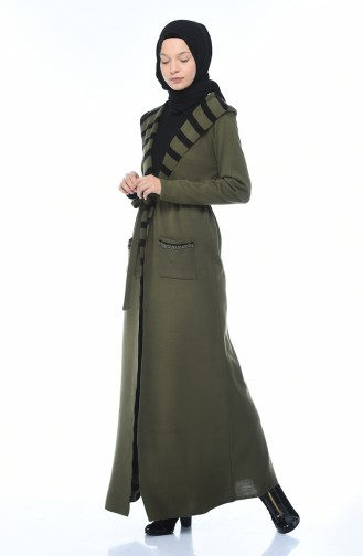 Hooded Cardigan Dress Double Suit Khaki 0605-02