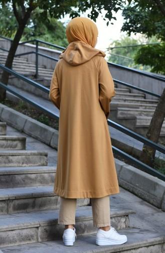 معطف بقبعة كم ريجلان خردلي 8034-02