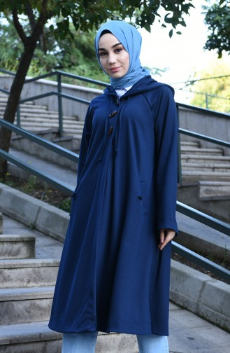 Reglan Sleeve Hooded Cape Navy Blue 8034-04