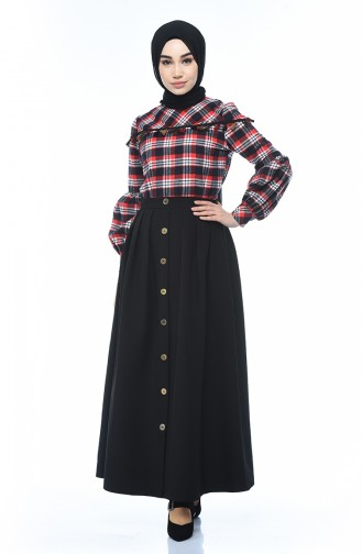 Plaid Patterned Shirt Skirt Double Set Navy Blue Red 1040-02