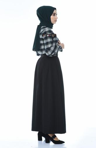 Plaid Patterned Shirt Skirt Double Set Khaki Navy Blue 1040-03
