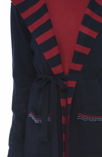 Kapüşonlu Hırka Elbise İkili Takım 0605-05 Lacivert