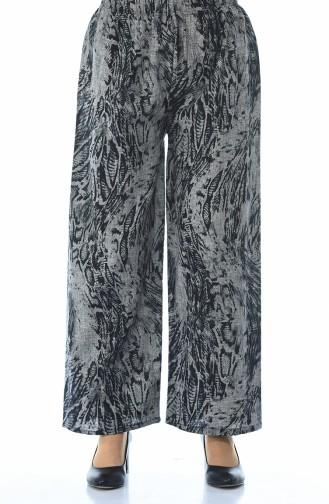 Desenli Bol Paca Pantolon 7938-01 Siyah Gri 7938-01