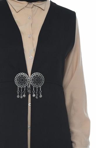 Suede Vest with Brooch Black 2140-04