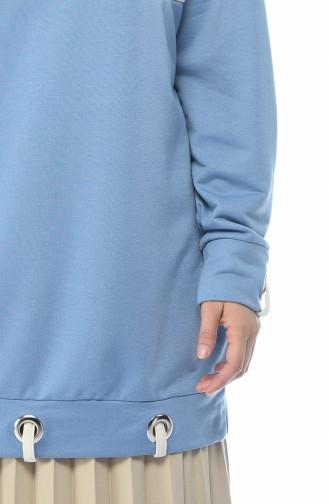 Kuş Gözü Detaylı Sweatshirt 0748-01 Mavi 0748-01