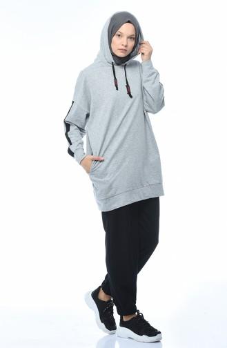 بدلة رياضية بقبعة رمادي 0744-01
