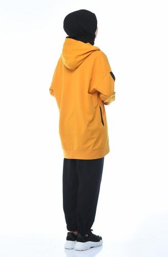 بدلة رياضية بقبعة خردلي 0744-02