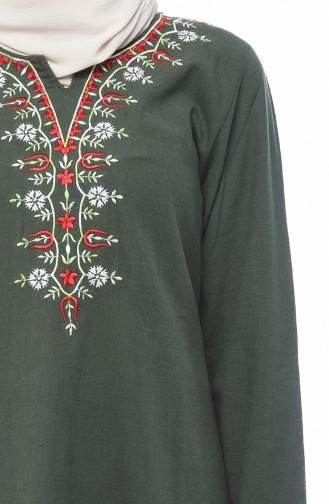 فستان مطرز كاكي 0074-01