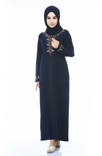 Embroidered Dress Navy Blue 0074-03