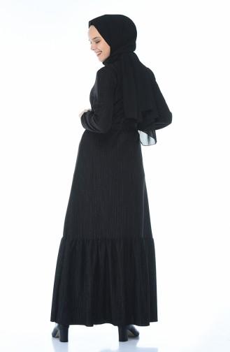 Kolu Lastikli Elbise 0328-01 Siyah 0328-01
