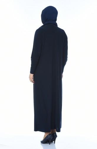 Grosse Grösse Bedrucktes Kleid 2225-02 Dunkelblau 2225-02